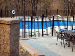 3 rail custom aluminum fence with custom finials and arched gate with gold scrolls style - Pool Fence Installation