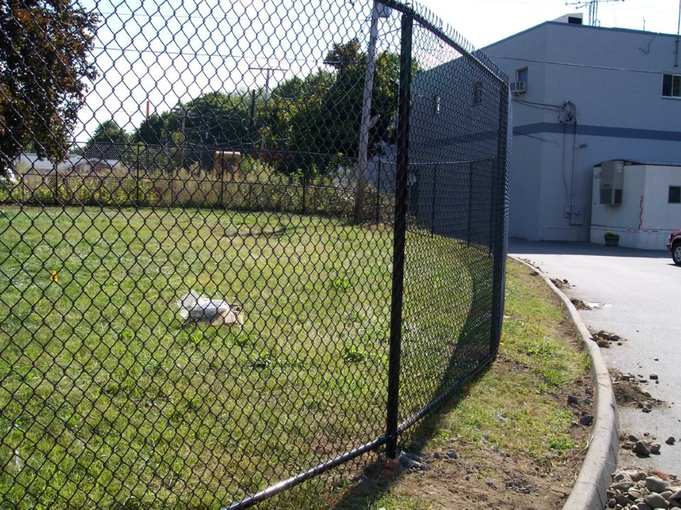 Black 2 inch mesh chain link with top and bottom rail. - Ketcham ...