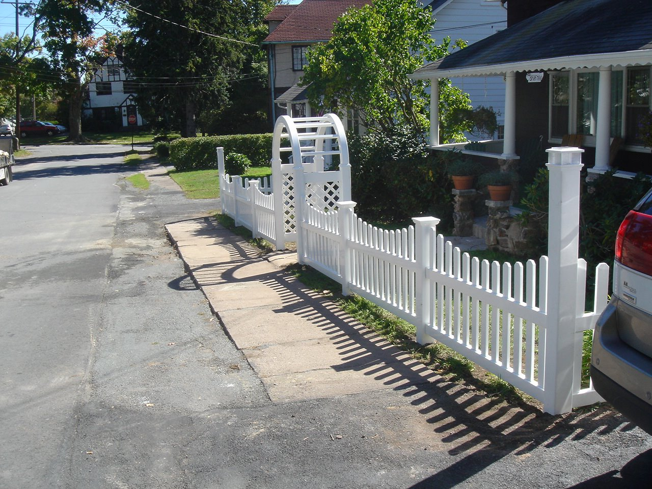 Vinyl picket fence with new england post caps and palace solar cap vinyl picket fence with new england post caps and palace solar cap on the corner posts baanklon Images