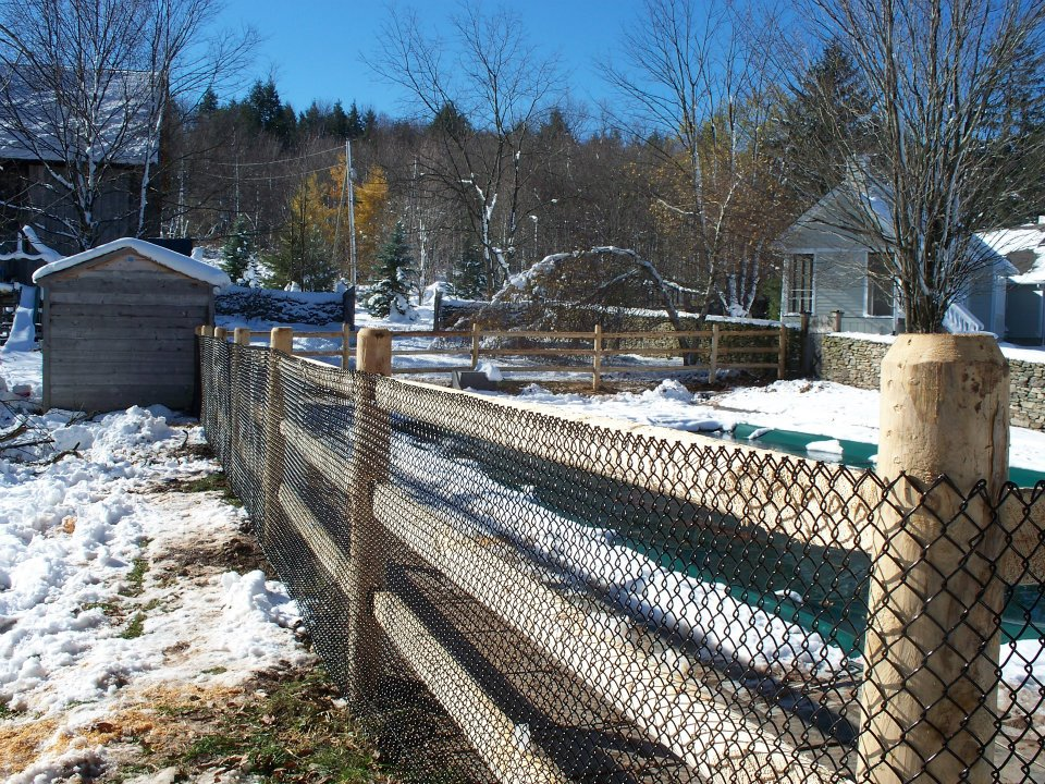 Cedar 3 Rail Post And Rail Fence With Security Mesh For
