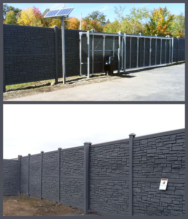 simulated stone fence installation