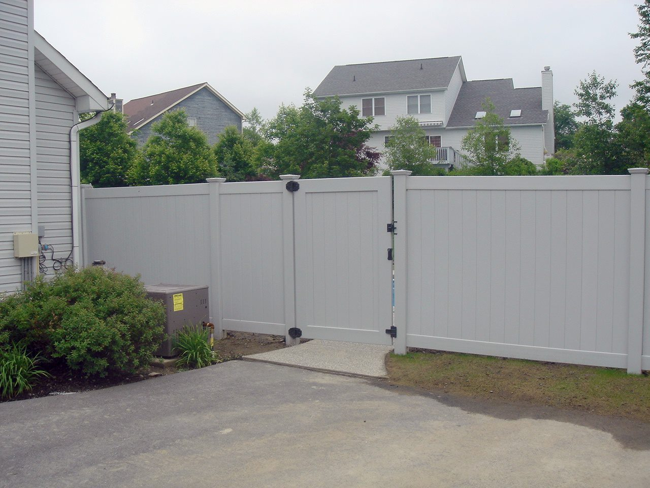v300 4 u0027 swing gate installed in gray privacy fence with new